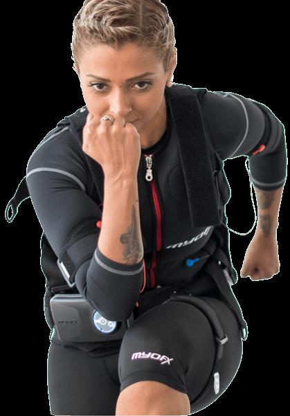 Cliente a treinar EMS com Personal Trainer